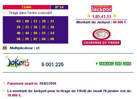 Jackpot euromillions resultats