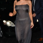 Lady Gaga seen leaving L'Archiduc Jazz club in a see-through dress in Brussels